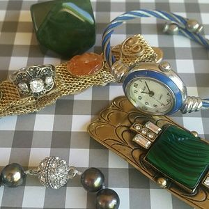 Jewelry Lot Vintage watch pearls sterling